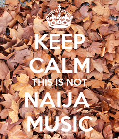 Poster: KEEP CALM THIS IS NOT NAIJA  MUSIC