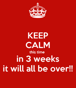 Poster: KEEP CALM this time  in 3 weeks it will all be over!!