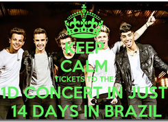 Poster: KEEP CALM TICKETS TO THE 1D CONCERT IN JUST  14 DAYS IN BRAZIL