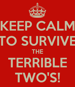 Poster: KEEP CALM TO SURVIVE THE TERRIBLE TWO'S!