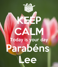 Poster: KEEP CALM Today is your day Parabéns  Lee