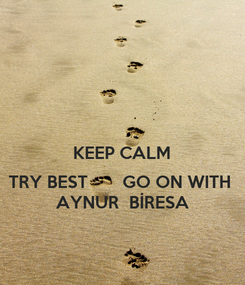 Poster:  KEEP CALM  TRY BEST       GO ON WITH  AYNUR  BİRESA