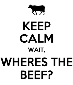 Poster: KEEP CALM WAIT, WHERES THE BEEF?