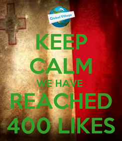 Poster: KEEP CALM WE HAVE  REACHED 400 LIKES