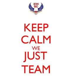 Poster: KEEP CALM WE JUST TEAM