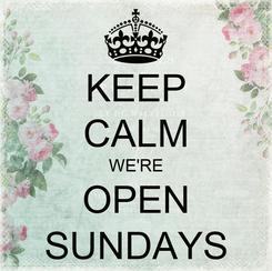 Poster: KEEP CALM WE'RE OPEN SUNDAYS