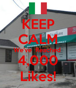 Poster: KEEP CALM We've  Reached  4,000 Likes!