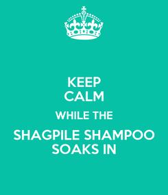 Poster: KEEP CALM WHILE THE SHAGPILE SHAMPOO SOAKS IN