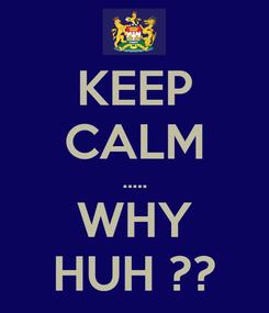 Poster: KEEP CALM ..... WHY HUH ??
