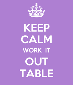 Poster: KEEP CALM WORK  IT OUT TABLE