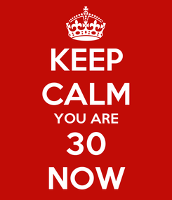 Poster: KEEP CALM YOU ARE 30 NOW