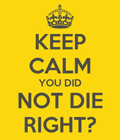 Poster: KEEP CALM YOU DID NOT DIE RIGHT?