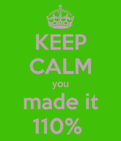 Poster: KEEP CALM you made it 110%