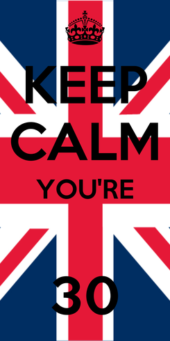 Poster: KEEP CALM YOU'RE  30