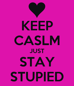 Poster: KEEP CASLM JUST STAY STUPIED