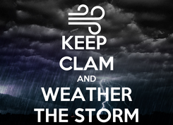 Poster: KEEP  CLAM AND WEATHER THE STORM