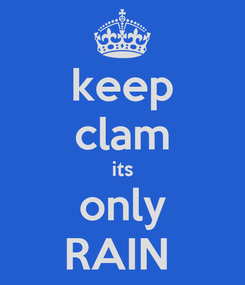 Poster: keep clam its only RAIN