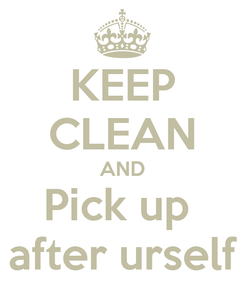 Poster: KEEP CLEAN AND Pick up  after urself