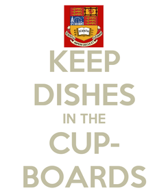 Poster: KEEP DISHES IN THE CUP- BOARDS