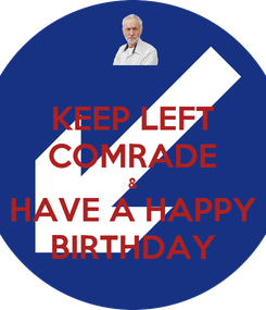 Poster: KEEP LEFT COMRADE & HAVE A HAPPY BIRTHDAY