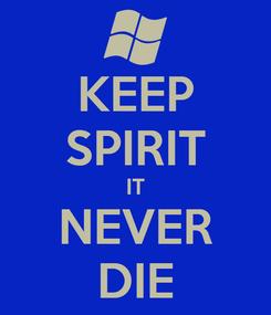 Poster: KEEP SPIRIT IT NEVER DIE