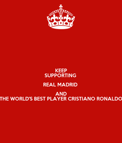 Poster: KEEP SUPPORTING  REAL MADRID  AND THE WORLD'S BEST PLAYER CRISTIANO RONALDO