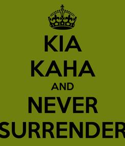 Poster: KIA KAHA AND NEVER SURRENDER
