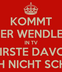Poster: KOMMT DER WENDLER IN TV WIRSTE DAVON AUCH NICHT SCHLAU