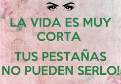 Poster: LA VIDA ES MUY CORTA   TUS PESTAÑAS NO PUEDEN SERLO!