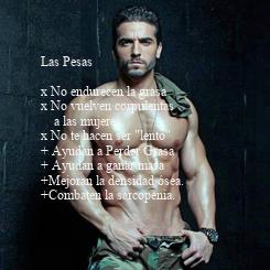 """Poster: Las Pesas  x No endurecen la grasa x No vuelven corpulentas      a las mujeres. x No te hacen ser """"lento"""" + Ayudan a Perder Grasa + Ayudan a ganar masa  +Mejoran"""