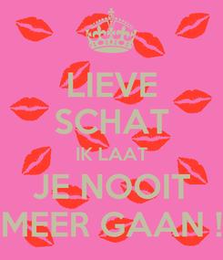 Poster: LIEVE SCHAT IK LAAT JE NOOIT MEER GAAN !
