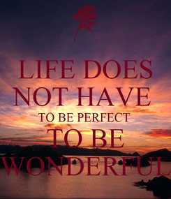 Poster: LIFE DOES NOT HAVE  TO BE PERFECT  TO BE WONDERFUL