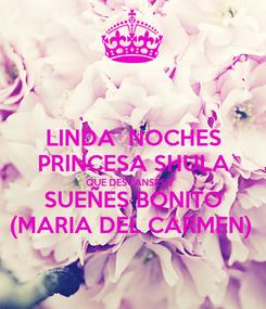 Poster: LINDA  NOCHES PRINCESA SHULA QUE DESCANSES Y SUEÑES BONITO (MARIA DEL CARMEN)
