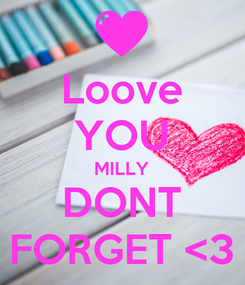 Poster: Loove YOU MILLY DONT FORGET <3