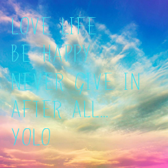 Poster: Love life  Be happy Never give in After all... YOLO