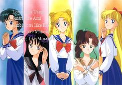 Poster: Loyal like Usagi Smart like Ami  Ambitious like Rei  Strong like Makoto  Loving  like Minako