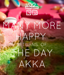 Poster: MANY MORE HAPPY  RETURNS  OF THE DAY AKKA