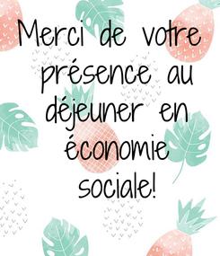 Poster: Merci de votre  présence au  déjeuner en  économie  sociale!