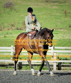 Poster: National Side Saddle Show 31st July, 1st & 2nd August Addington Manor Come and see side saddle riding at it's best! Spectators are very welcome!