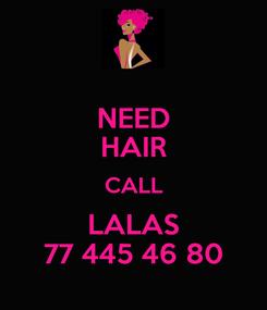 Poster: NEED HAIR CALL LALAS 77 445 46 80