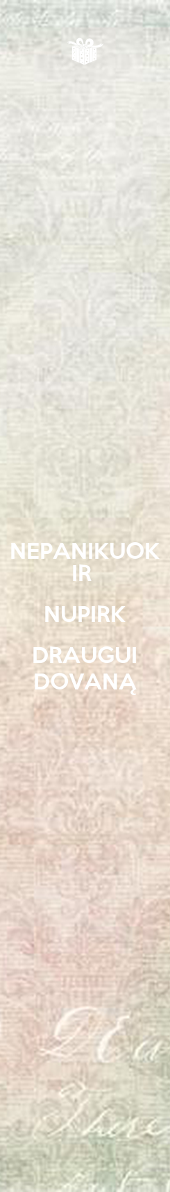 Poster: NEPANIKUOK IR  NUPIRK DRAUGUI DOVANĄ