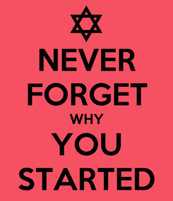 Poster: NEVER FORGET WHY YOU STARTED