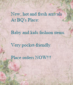 Poster: New, hot and fresh arrivals 