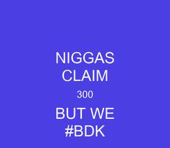 Poster: NIGGAS CLAIM 300 BUT WE #BDK