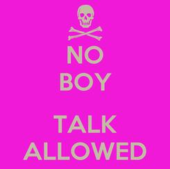 Poster: NO BOY  TALK ALLOWED