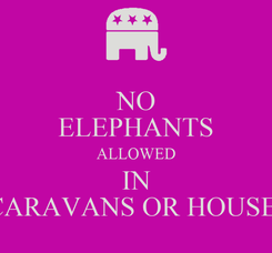 Poster: NO ELEPHANTS ALLOWED IN CARAVANS OR HOUSE!