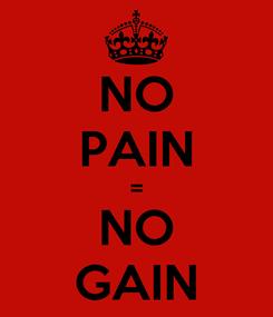 Poster: NO PAIN = NO GAIN