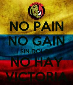 Poster: NO PAIN NO GAIN SIN DOLOR NO HAY VICTORIA
