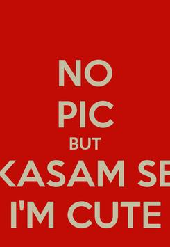 Poster: NO PIC BUT KASAM SE I'M CUTE