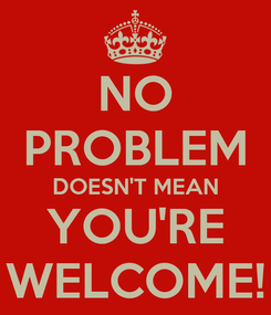 Poster: NO PROBLEM DOESN'T MEAN YOU'RE WELCOME!